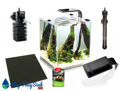 Bể cá mini hình vuông chuyên nuôi tép Aquael Shrimp Set Smart