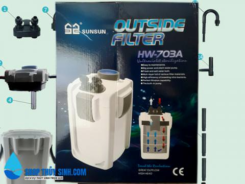 Lọc thùng ngoài cao cấp Sunsun HW-703A dùng cho hồ 80-140cm