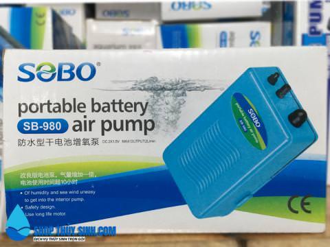 Máy sủi oxy chạy pin Sobo SB-980 thuận tiện khi cúp điện